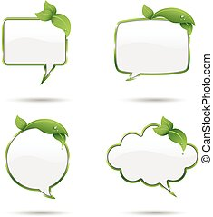 Leaf Speech Bubbles - Green speech bubbles with fresh leaves...