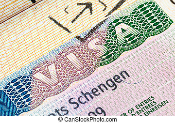Schengen visa in the passport - European Schengen visa stamp...