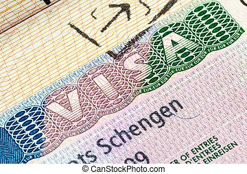 Schengen visa in the passport - European Schengen visa stamp...