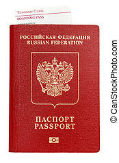 Isolated passport with boarding pass