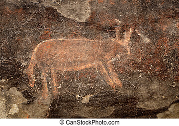 Bushmen rock painting - Bushmen san rock painting of an...