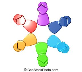 Teamwork group of working people - 3D logo Teamwork colorful...