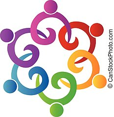 Teamwork people holding swirly logo - Teamwork people...