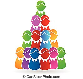 Human tree pyramid concept logo - Global Family human shapes...