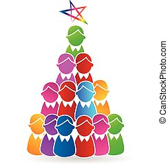 Tree Christmas people shape logo - Tree Christmas people...