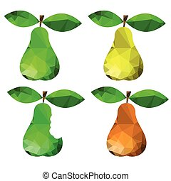 pears - colorful illustration with abstract pears on white...