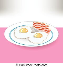 eggs and becon - colorful illustration with eggs and becon