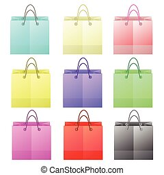 paper bags - colorful illustration with paper bags on white...