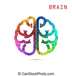 Creative colorful left brain and right brain Idea concept background.
