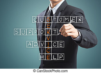 Customer service concep - Business man writing customer...