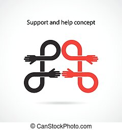 Support and help concept, teamwork hands concept, handshake...