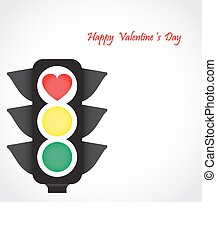 Traffic light icon with red heart sign. Business and valentine 's day concept.