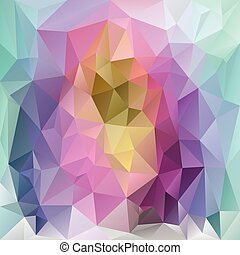 vector polygonal background - triangular design in spring pastel rainbow spectrum colors - pink, blue, violet, purple, green, yellow
