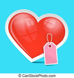 Vector Heart Symbol with Empty Label on Blue Background