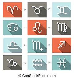 Vector Zodiac Symbols Set