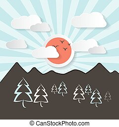 Retro Abstract Mountain Landscape Vector Illustration with Paper Sun
