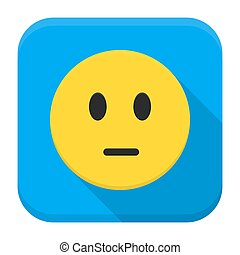 Pensive yellow smile app icon with long shadow - Flat style...
