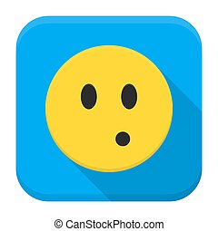 Surprised yellow smile app icon with long shadow - Flat...
