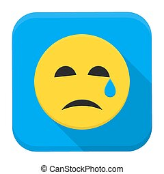 Crying yellow smile app icon with long shadow - Flat style...