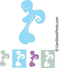 Naked silhouette with backbone line - Nude silhouette of...