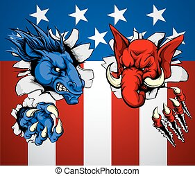 Politics Republican Democrat Concept - Politics Republican...