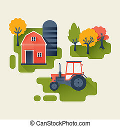 Agricultural Industry Concept - Tractor and Barn on the...