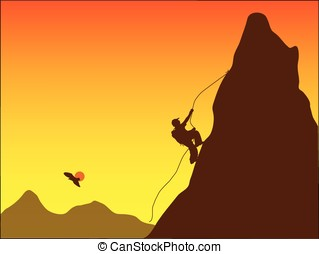 mountain climber - vector,silhouette of a mountain climber...