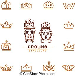 Set of crown line icons