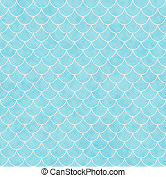 Teal and White Shell Tiles Pattern Repeat Background that is...