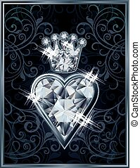 Diamond Poker hearts royal card, vector illustration