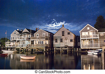 Nantucket by Night, 2008 - A group of houses on the water