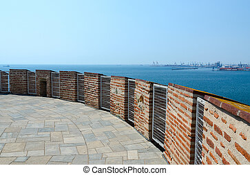 Greece, Thessaloniki, observation deck of White Tower, view...
