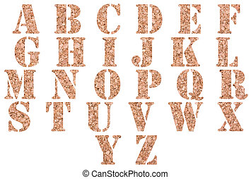Cork alphabet - Brown cork alphabet isolated on a white...