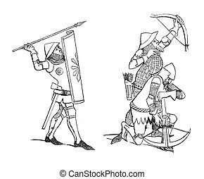 Medieval soldiers - Vintage illustration of Medieval soldier...
