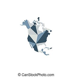 North America continent. Polygonal illustration. Vector