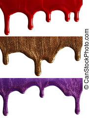 Nail polish - Blots of nail polish isolated on white...