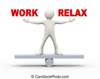 3d man balance work and relax - 3d illustration of man on...