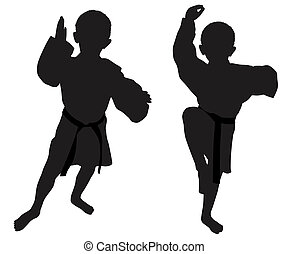 Silhouettes of two little boys - Silhouettes of two boys who...