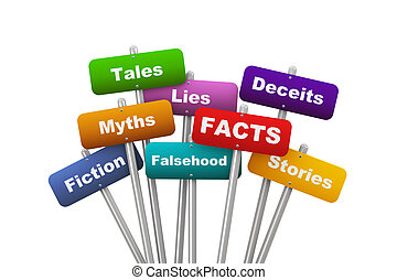 3d placard concept of facts - 3d illustration of group of...