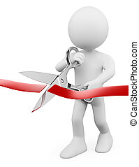 3D white people. Man with scissors cutting red ribbon - 3d...