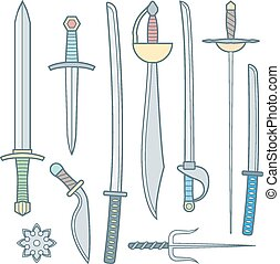 vector colored outline cold medieval weapons set with sword falchion glaive steel dagger dirk whiner saber saber sword katana bokken trident sai shrunken star