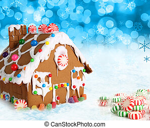 Christmas gingerbread house. - Gingerbread house on a...