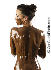 the chocolate girl - amazing shot of a young beautiful...