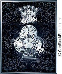 Diamond Poker clubs royal card, vector illustration