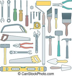 vector colored outline various house remodel instruments set...