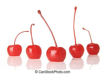 Maraschino cherries - Red maraschino cherries, studio...