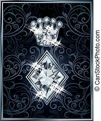 Diamond Poker diamonds royal card, vector illustration