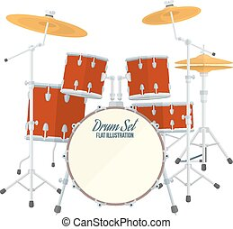 color flat style vector drum set on white background bass tom-tom ride cymbal crash hi-hat snare stands