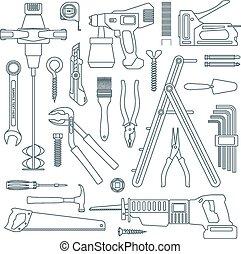 reparación, Conjunto, contorno, casa, gris, Oscuridad,...