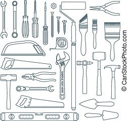 vector dark grey outline various house remodel instruments...